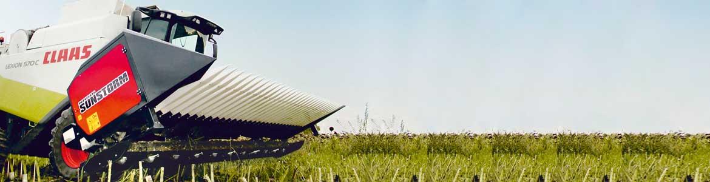 Sunstorm, cabezal de girasol por todo tipos de cosechadoras (John Deere, Claas, Case, New Holland).