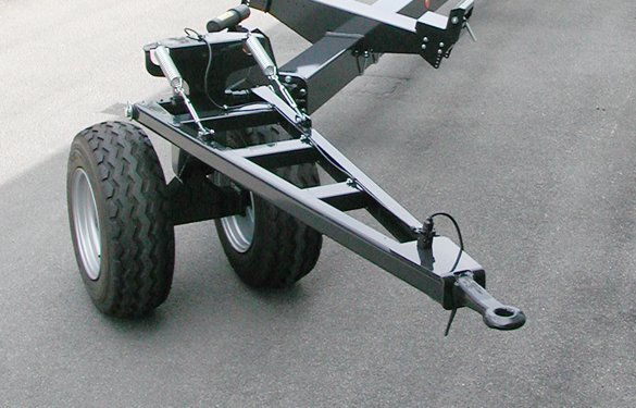 header trailer with steering axle